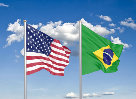 United States of America vs Brazil. Thick colored silky flags of America and Brazil. 3D illustration on sky background. - Illustration