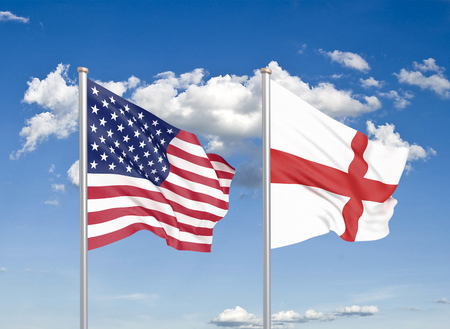 United States of America vs England. Thick colored silky flags of America and England. 3D illustration on sky background. - Illustration Stock Photo