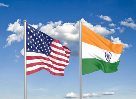 United States of America vs India. Thick colored silky flags of America and India. 3D illustration on sky background. - Illustration Stock Photo