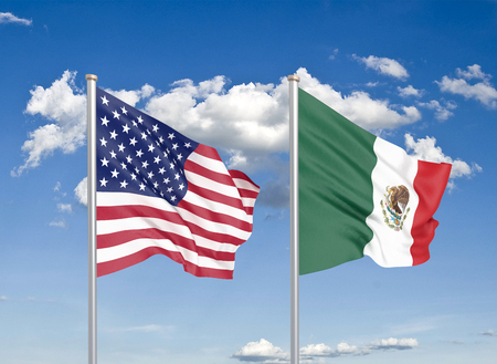 United States of America vs Mexico. Thick colored silky flags of America and Mexico. 3D illustration on sky background. - Illustration