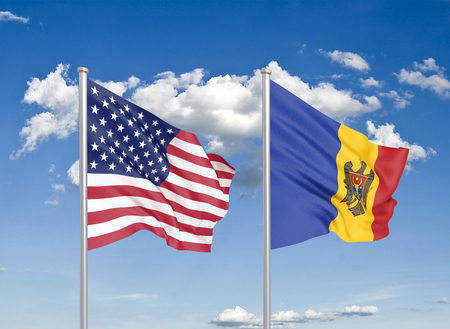 United States of America vs Moldova. Thick colored silky flags of America and Moldavia. 3D illustration on sky background. - Illustration Stock Photo