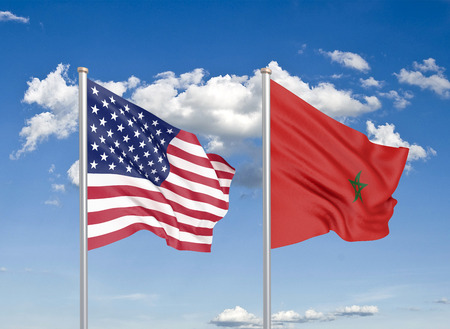 United States of America vs Morocco. Thick colored silky flags of America and Morocco. 3D illustration on sky background. - Illustration