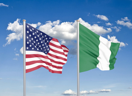 United States of America vs Nigeria. Thick colored silky flags of America and Nigeria. 3D illustration on sky background. - Illustration