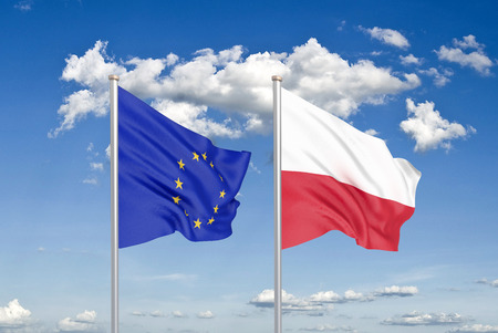 European Union vs Poland. Thick colored silky flags of European Union and Poland. 3D illustration on sky background. - Illustration Stock Photo