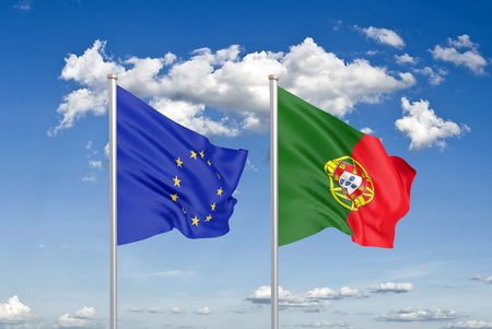 European Union vs Portugal. Thick colored silky flags of European Union and Portugalija. 3D illustration on sky background. - Illustration