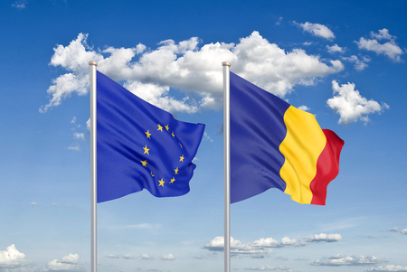 European Union vs Romania. Thick colored silky flags of European Union and Romania. 3D illustration on sky background. - Illustration