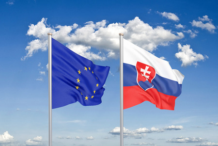 European Union vs Slovakia. Thick colored silky flags of European Union and Slovakia. 3D illustration on sky background. - Illustration
