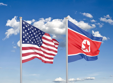 United States of America vs North Korea. Thick colored silky flags of America and North Korea. 3D illustration on sky background. - Illustration