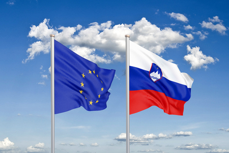European Union vs Slovenia. Thick colored silky flags of European Union and Slovenia. 3D illustration on sky background. - Illustration Stock Photo