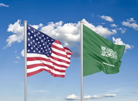 United States of America vs Saudi Arabia. Thick colored silky flags of America and Saudi Arabia. 3D illustration on sky background. - Illustration