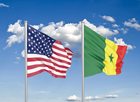 United States of America vs Senegal. Thick colored silky flags of America and Senegal. 3D illustration on sky background. - Illustration Stock Photo