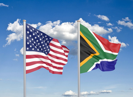 United States of America vs South Africa. Thick colored silky flags of America and South Africa. 3D illustration on sky background. - Illustration Stock Photo