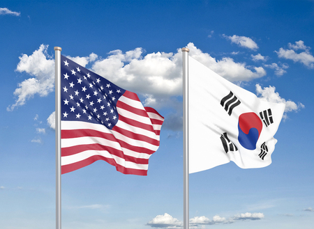 United States of America vs South Korea. Thick colored silky flags of America and South Korea. 3D illustration on sky background. - Illustration