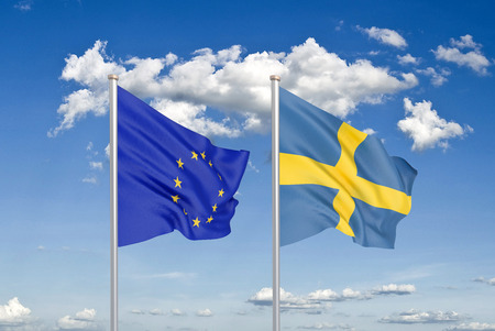 European Union vs Sweden. Thick colored silky flags of European Union and Sweden. 3D illustration on sky background. - Illustration Stock Photo