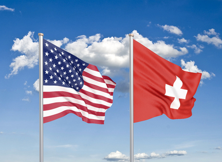 United States of America vs Switzerland. Thick colored silky flags of America and Switzerland. 3D illustration on sky background. - Illustration Stock Photo