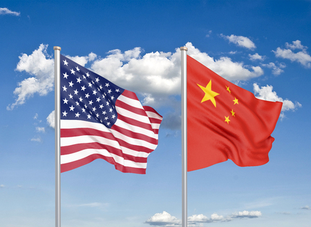 United States of America vs China. Thick colored silky flags of America and China. 3D illustration on sky background. - Illustration
