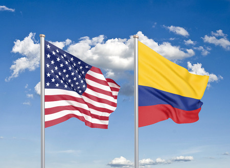 United States of America vs Colombia. Thick colored silky flags of America and Colombia. 3D illustration on sky background. - Illustration Banco de Imagens