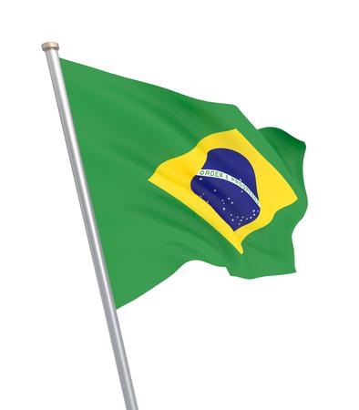 Brazil flag blowing in the wind. Background texture. 3d rendering, waving flag. 3d illustration. - Illustration Imagens