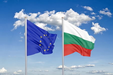 European Union vs Bulgaria. Thick colored silky flags of European Union and Bulgaria. 3D illustration on sky background. - Illustration