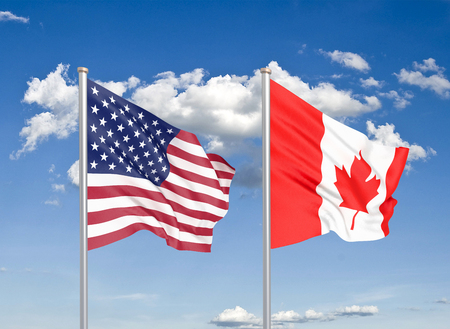 United States of America vs Canada. Thick colored silky flags of America and Canada. 3D illustration on sky background. - Illustration Stock Photo