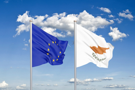 European Union vs Cyprus. Thick colored silky flags of European Union and Cyprus. 3D illustration on sky background. - Illustration