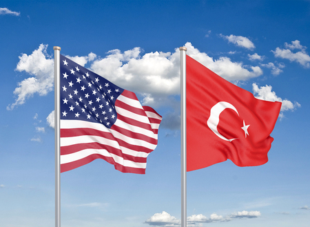 United States of America vs Turkey. Thick colored silky flags of America and Turkey. 3D illustration on sky background. - Illustration Stock Photo