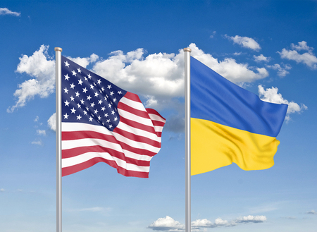 United States of America vs Ukraine. Thick colored silky flags of America and Ukraine. 3D illustration on sky background. - Illustration