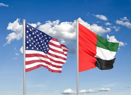 United States of America vs United Arab Emirates. Thick colored silky flags of America and United Arab Emirates. 3D illustration on sky background. - Illustration Stock Photo