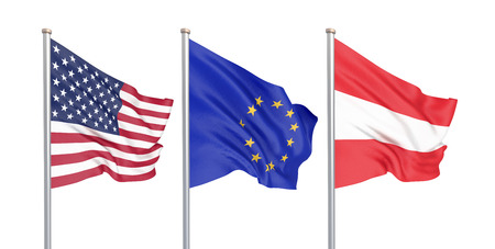 Three colored silky flags in the wind: USA (United States of America), EU (European Union) and Austria isolated on white. 3D illustration.