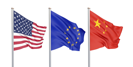 Three colored silky flags in the wind: USA (United States of America), EU (European Union) and China isolated on white. 3D illustration.