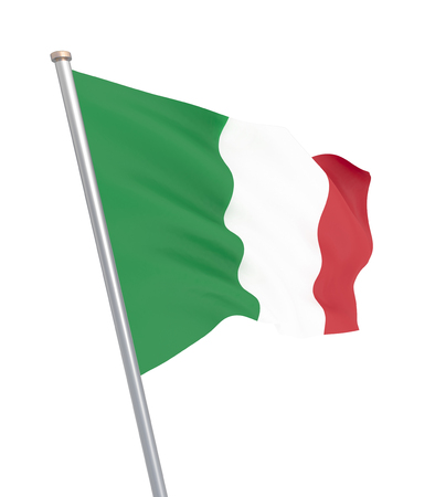 Italy flag blowing in the wind. Background texture. 3d rendering, wave. Banque d'images