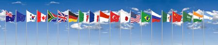 Waving flags countries of members Group of Twenty. Big G20 in Japan in 2020 . Blue sky background. 3d rendering.  Illustration.