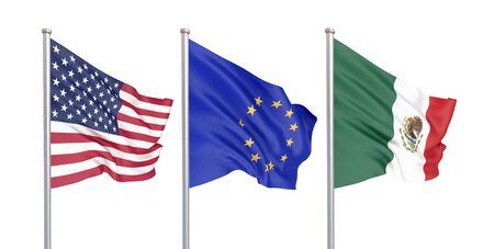 Three colored silky flags in the wind: USA (United States of America), EU (European Union) and Mexico isolated on white. 3D illustration.