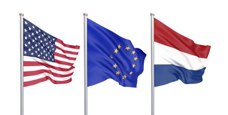 Three colored silky flags in the wind: USA (United States of America), EU (European Union) and Netherlands isolated on white. 3D illustration.