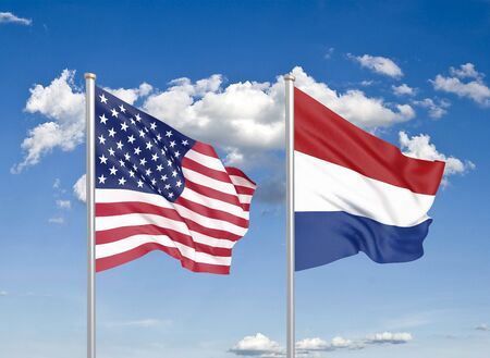 United States of America vs Netherlands. Thick colored silky flags of America and Netherlands. 3D illustration on sky background. - Illustration