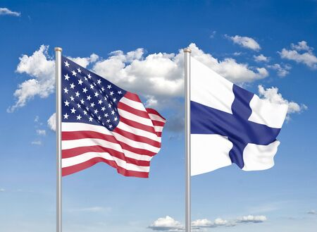 United States of America vs Finland. Thick colored silky flags of America and Finland. 3D illustration on sky background. - Illustration Фото со стока