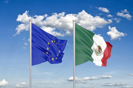 European Union vs Mexico. Thick colored silky flags of European Union and Mexico