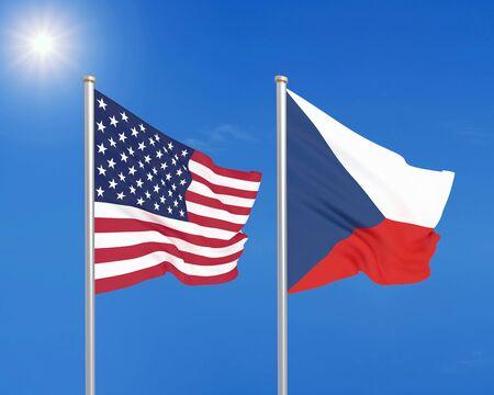 United States of America vs Czech Republic. Thick colored silky flags of America and Czech Republic. 3D illustration on sky background. - Illustration Reklamní fotografie