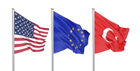 Three colored silky flags in the wind: USA (United States of America), EU (European Union) and Turkey isolated on white. 3D illustration. Banco de Imagens
