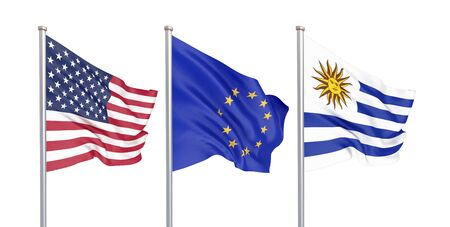 Three colored silky flags in the wind: USA (United States of America), EU (European Union) and Uruguay isolated on white. 3D illustration. 写真素材