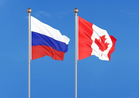 Russia vs Canada. Thick colored silky flags of Russia and Canada. 3D illustration on sky background. – Illustration