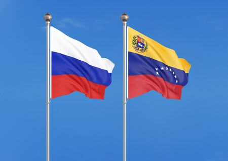 Russia vs Venezuela. Thick colored silky flags of Russia and Venezuela. 3D illustration on sky background. – Illustration