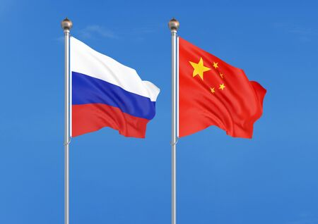 Russia vs China. Thick colored silky flags of Russia and China. 3D illustration on sky background. – Illustration