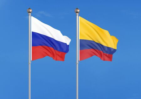 Russia vs Colombia. Thick colored silky flags of Russia and Colombia. 3D illustration on sky background. – Illustration