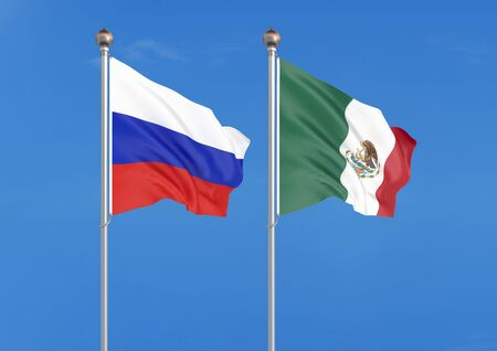 Russia vs Mexico. Thick colored silky flags of Russia and Mexico. 3D illustration on sky background. – Illustration