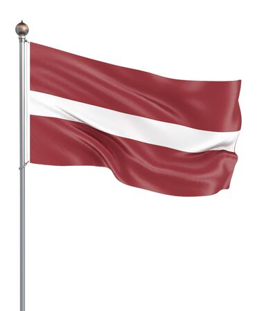 Latvia flag blowing in the wind. Background texture. 3d rendering, wave. Isolated on white. Фото со стока