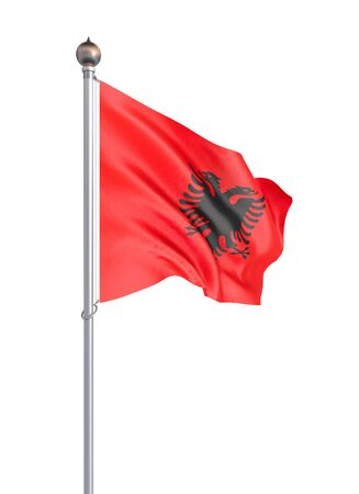 Albania flag blowing in the wind. Background texture. 3d rendering, wave. - Illustration. Isolated on white.