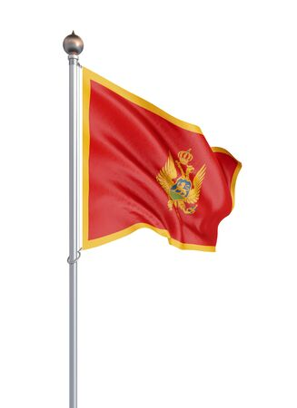 Montenegro flag blowing in the wind. Background texture. 3d rendering, wave. - Illustration. Isolated on white.