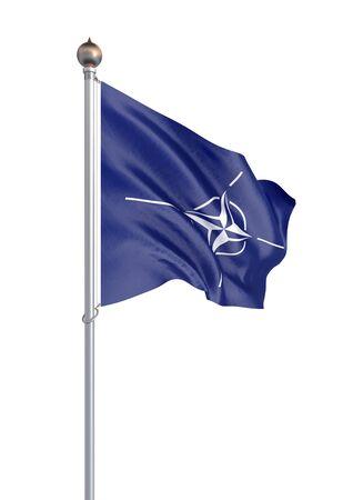 North Atlantic Treaty Organization flag. Isolated on white  - 3D illustration. Imagens