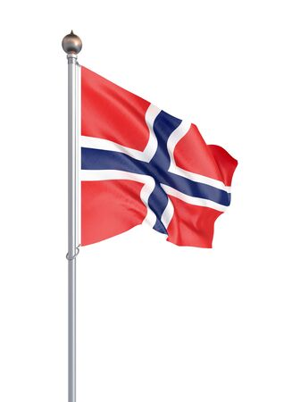 Norway flag blowing in the wind. Background texture. 3d rendering, wave. - Illustration. Isolated on white. Imagens